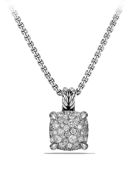 Chatelaine Silver Pave Diamond Pendant Necklace