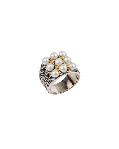 Thalia Multi-Pearl Grid Ring, Size 7