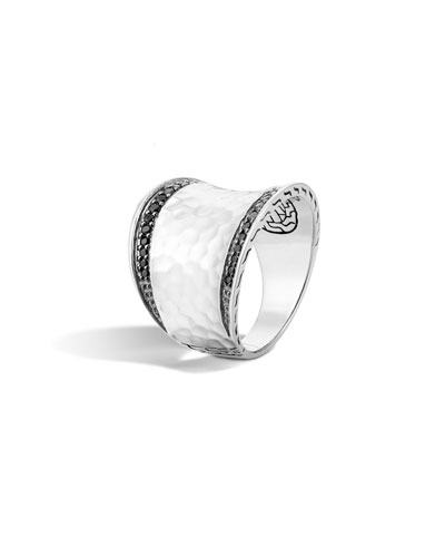 Classic Chain Hammered Silver Saddle Ring w/ Pavé Edges