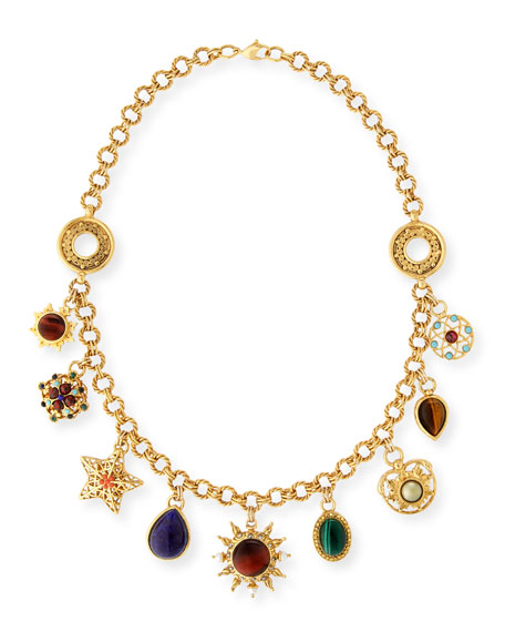 JOSE & MARIA BARRERA Celestial Charm Necklace W/ Mixed Stones in Gold