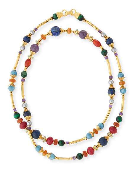 JOSE & MARIA BARRERA Long Beaded Stone Necklace in Gold