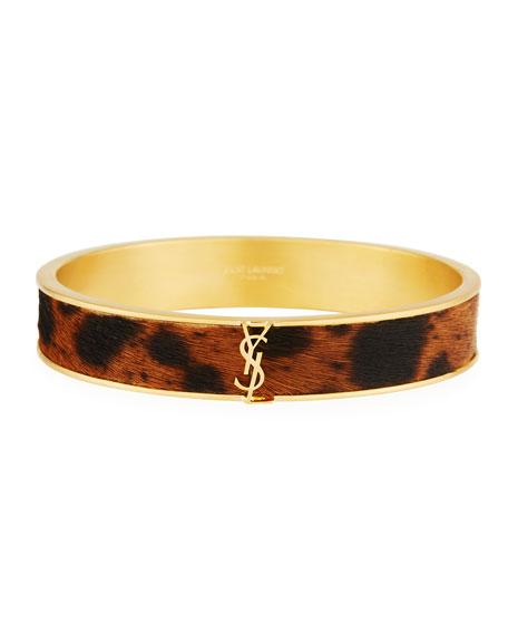 Leopard Look Genuine Calf Hair Bangle Bracelet, Black/ Brown