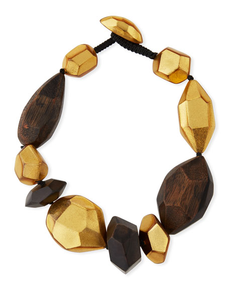 Faceted Wood & Golden Collar Necklace