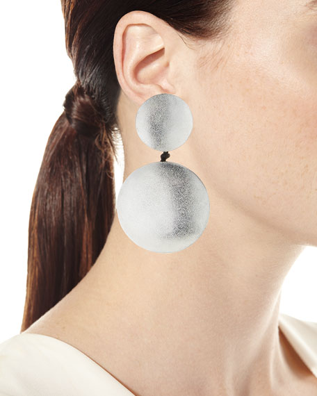 Large Silvertone Double Disc Statement Clip-On Earrings