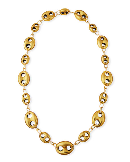 Marine Open-Link Golden Foil Chain Necklace