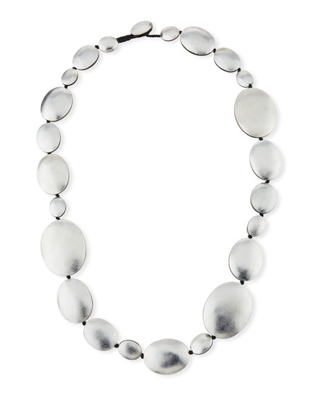 Single-Strand Foil Necklace, Silvertone