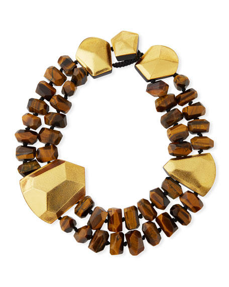 Tiger's Eye & Golden Foil Statement Collar Necklace