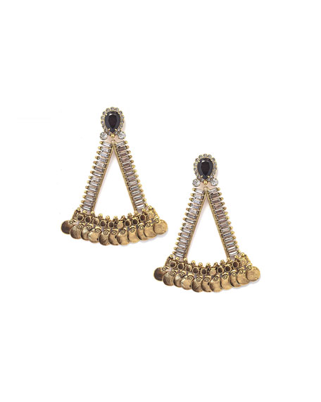 Luna Triangular Statement Earrings w/ Crystals