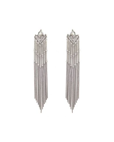 Hanna Metal Fringe Tassel Dangle Earrings