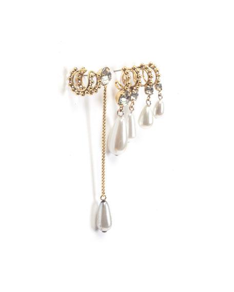 Ana Asymmetric Earrings w/ Pearly Dangles