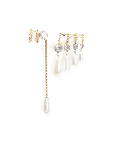 Ana Asymmetric Earrings w/ Pearly Dangles