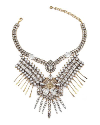 Hunter Statement Necklace w/ Mixed-Cut Crystals