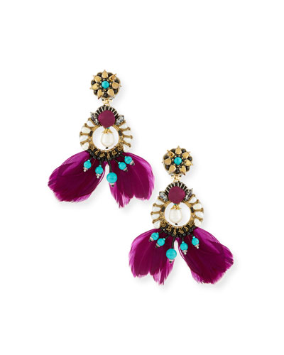 Meriti Feather Drop Clip-On Earrings