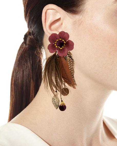 Laelia Clip-On Earrings w/ Feathers