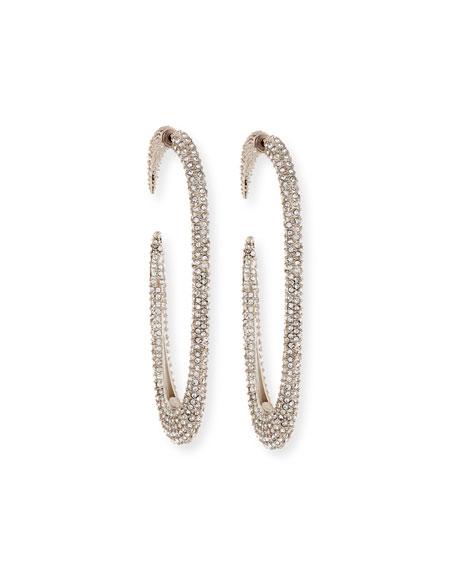 f07926cc684 Saint Laurent Large Crystal Hoop Earrings, Gray | ModeSens