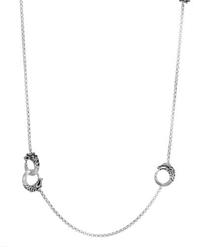 Legends Naga Silver Dragon Station Necklace w/ Black Spinel