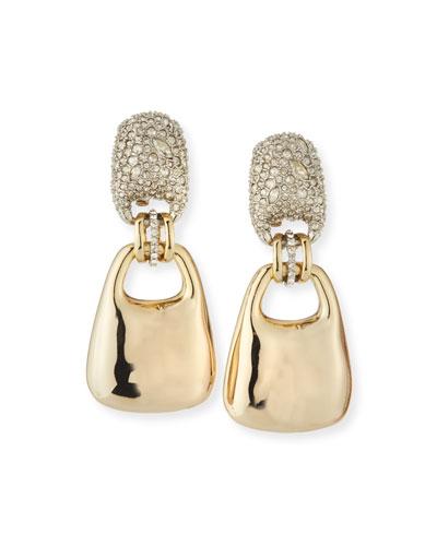 Encrusted Swinging Clip-On Earrings with Watery Metal Drop
