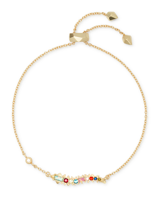 Kendra Scott Slippers Marianne Slider Chain Bracelet w/ Rainbow Crystals