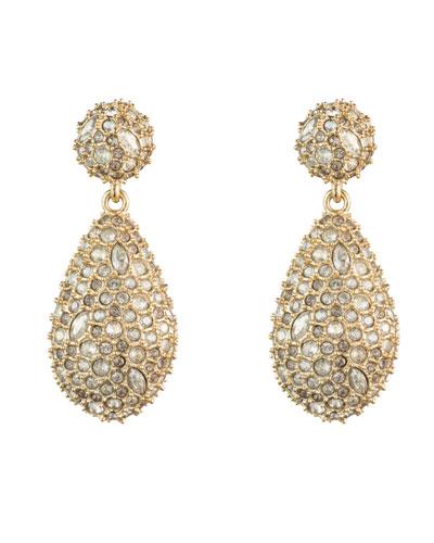 Crystal-Encrusted Pod Drop Post Earrings
