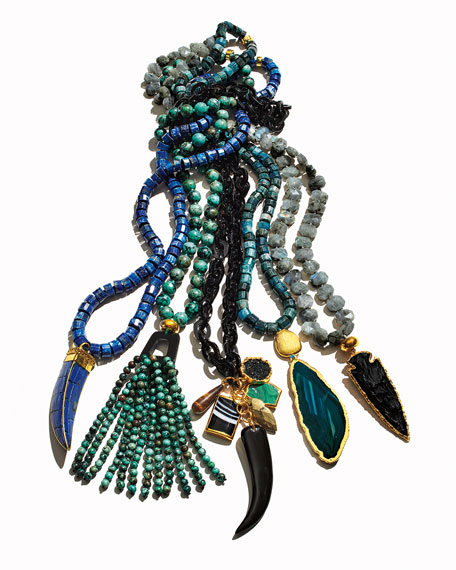 "Labradorite Arrowhead Pendant Necklace, 40"""
