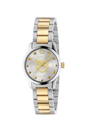 Gucci 27mm G-Timeless Bracelet Watch w/ Feline Motif, Two-Tone