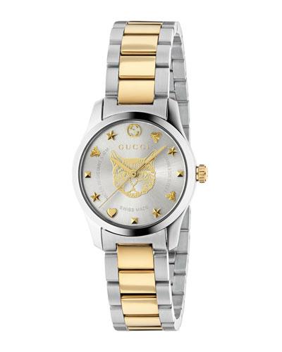 27mm G-Timeless Bracelet Watch w/ Feline Motif, Two-Tone