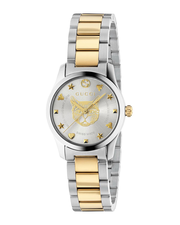 aef45e979a5 Gucci 27mm G-Timeless Bracelet Watch w  Feline Motif