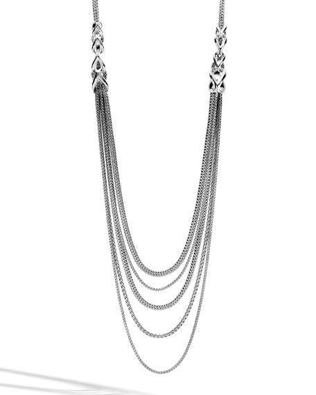Chain Silver Five-Strand Bib Necklace
