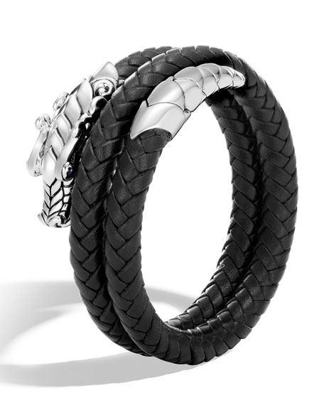 John Hardy Legends Naga Double Coil Leather Bracelet,