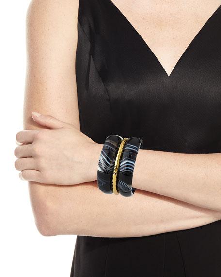 Agate & Golden Bracelets, Set of 3