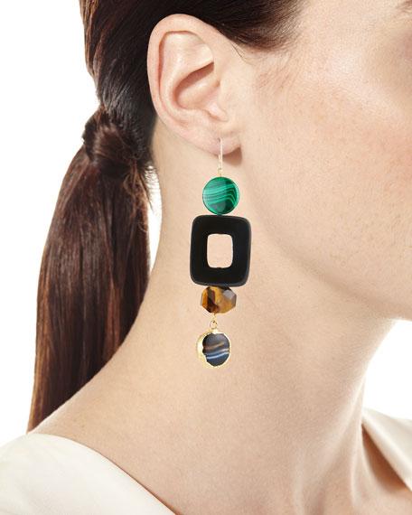 African Horn, Tiger Eye & Malachite Drop Earrings