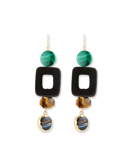 NEST JEWELRY AFRICAN HORN, TIGER EYE & MALACHITE DROP EARRINGS
