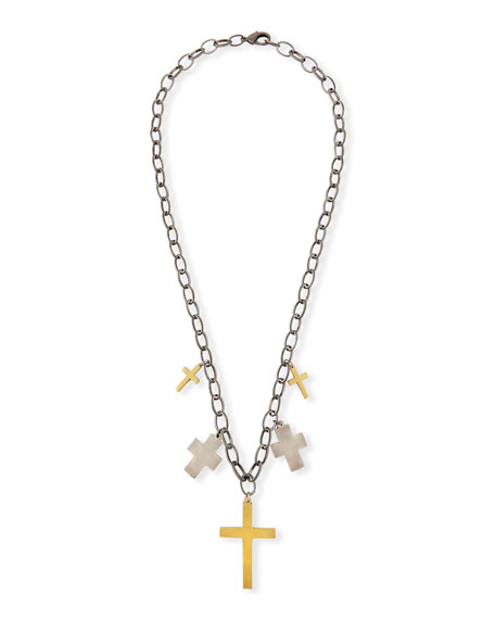 HIPCHIK Iman Multi-Cross Pendant Necklace