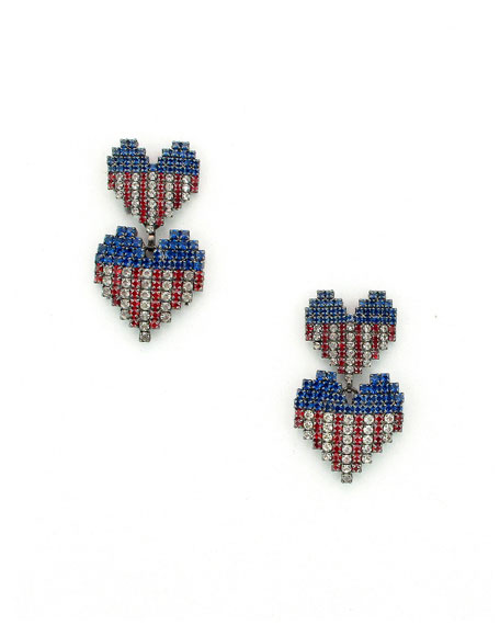 ELIZABETH COLE ABIGAIL HEART EARRINGS