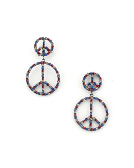ELIZABETH COLE ELEANOR PEACE DROP EARRINGS
