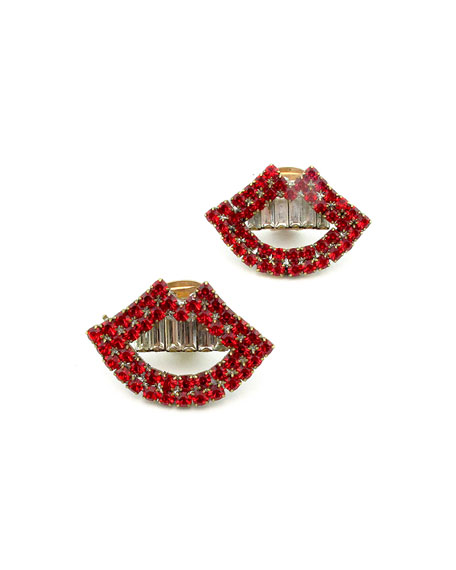 ELIZABETH COLE SWIFT CRYSTAL LIP CLIP-ON EARRINGS