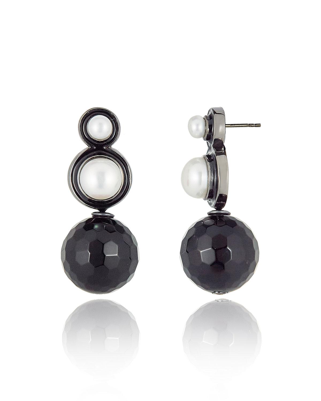 Double Pearl Onyx Drop Earrings
