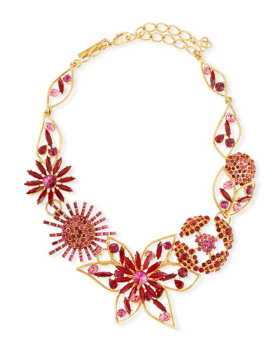Mixed Jeweled Flower Necklace