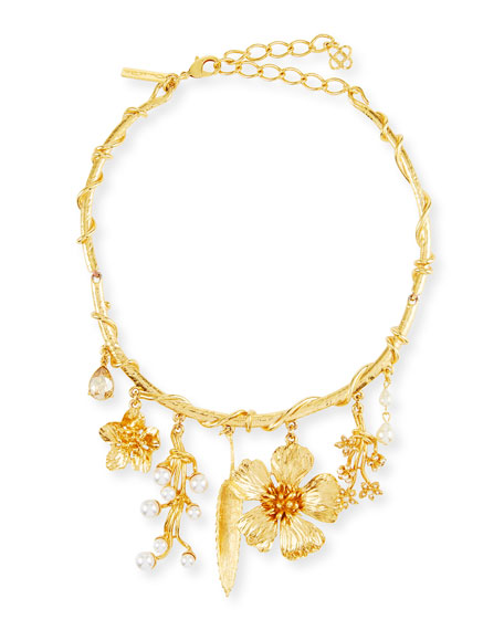 Oscar de la Renta Wildflower Necklace w/ Dangles