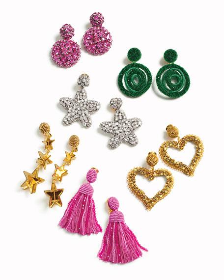 Short Clip-On Bead & Silk Tassel Earrings