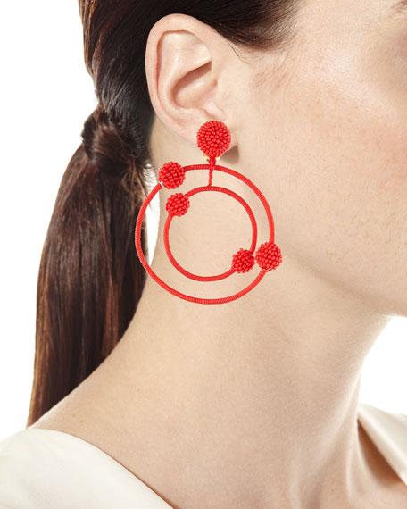 Beaded Orbits Clip-On Hoop Drop Earrings