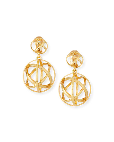 Oscar de la Renta Globe Clip-On Drop Earrings