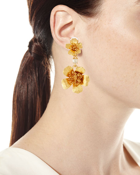 Delicate Flower Clip-On Drop Earrings