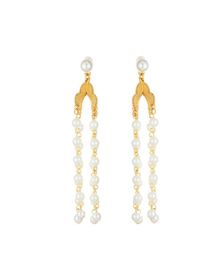 Long Pearly Drop Earrings by Oscar De La Renta
