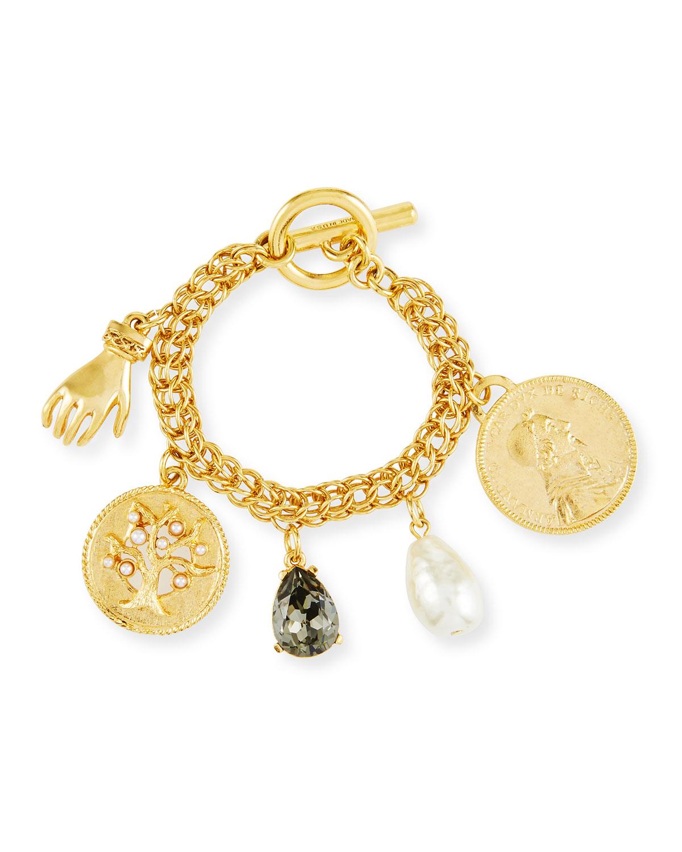 Toggle Charm Bracelet: Oscar De La Renta Mixed Talisman & Coin Toggle Charm