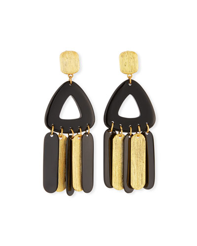 Horn & Brushed Golden Metal Dangle Earrings