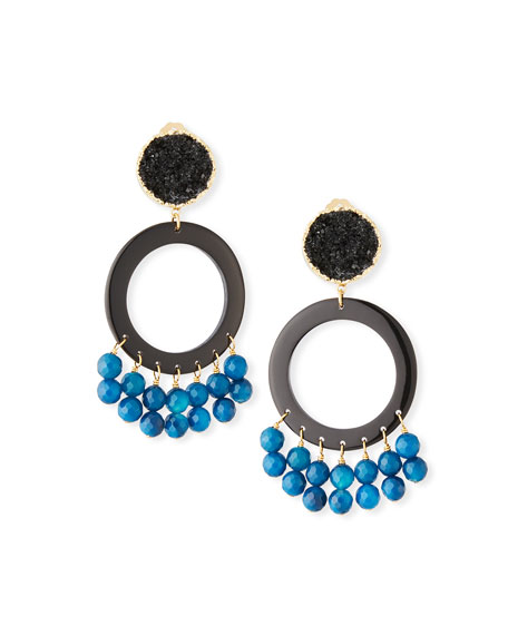 NEST Jewelry Peacock Circle Agate Clip-On Earrings