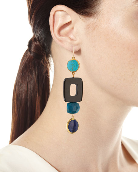 Blue Linear Multi-Drop Earrings