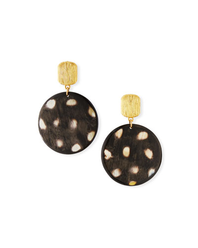 Spotted Horn Disc Drop Earrings