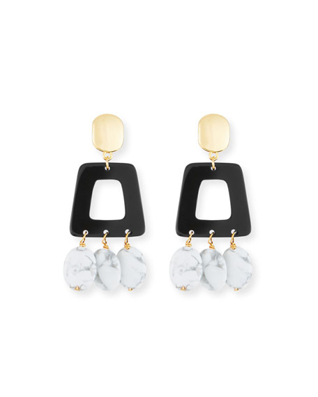 NEST JEWELRY HOWLITE & HORN DROP EARRINGS
